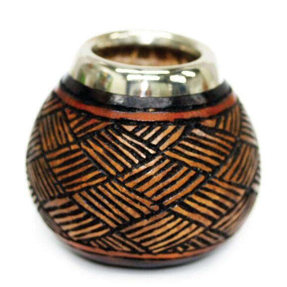Hand Carved Mate Gourd w/ Alpaca Rim