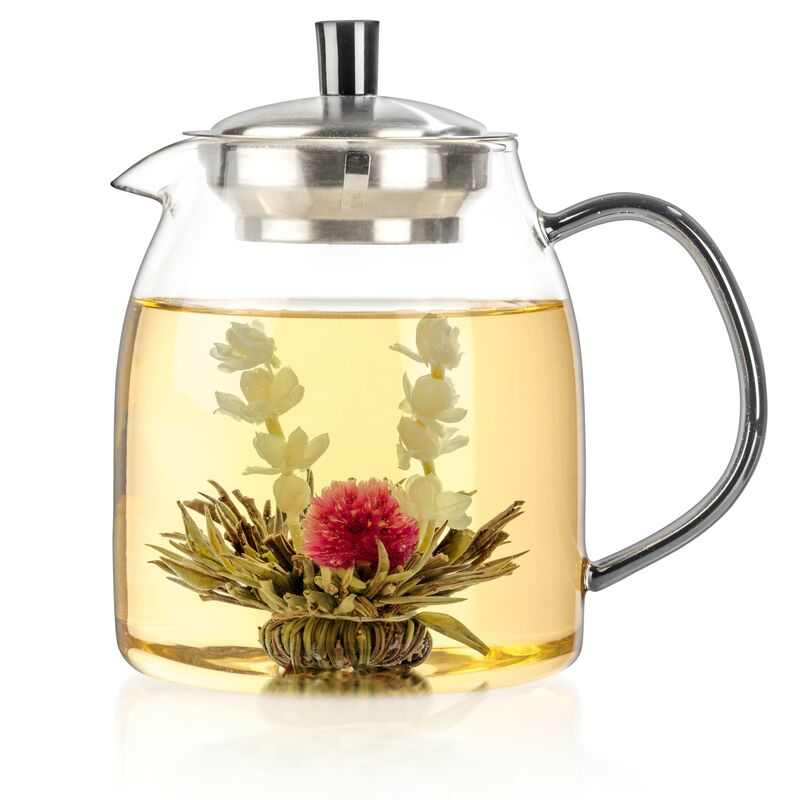 Glass Teapot + 12 Blooming Tea Gift Set