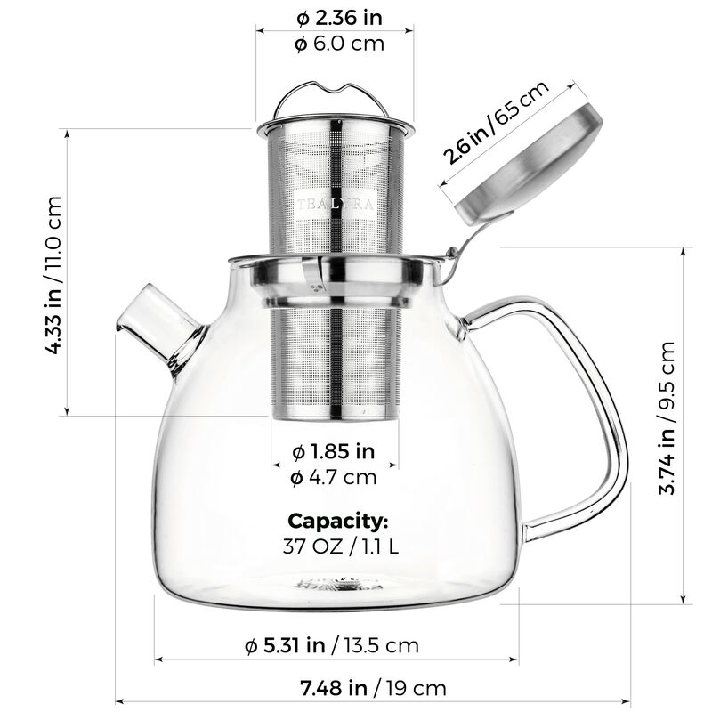 Lyra Glass Teapot 37 oz